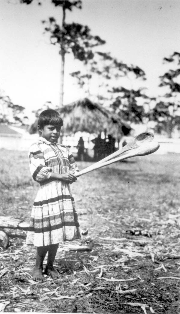 Seminole boy with sofkee spoons