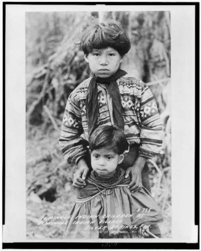 Seminole children,village,Silver Springs,FL 1938