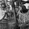 Seminole women pounding corn in Everglades
