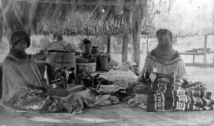 Seminole women with their hand-crank sewing machines,1950